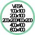 Standard Vesa da 100x100 a 600x400