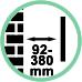 Distanza da parete da 9,2 a 38 cm.