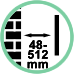 Distanza da parete da 4,8 a 51,2 cm.