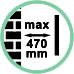 Distanza da parete max 47 cm.