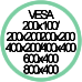 Standard Vesa da 200x100 a 800x400